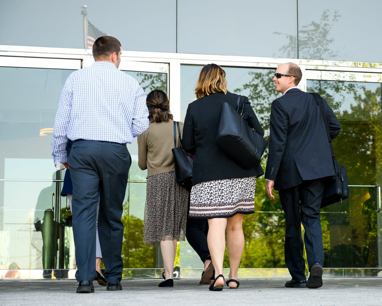 Linkage employees enter building