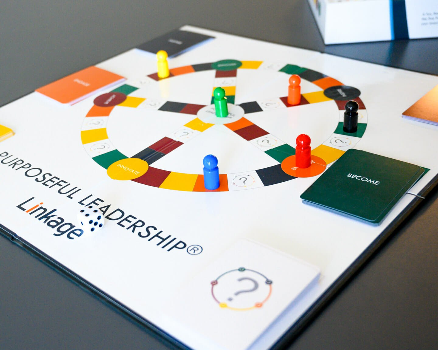 Close up of Linkage's Purposeful Leadership board game